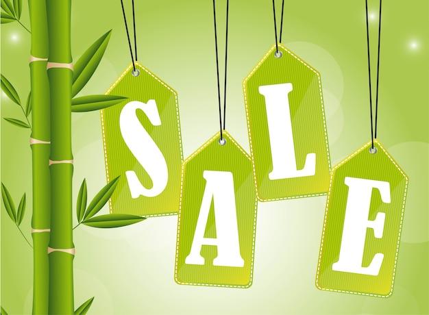 Tags de vente de nature avec illustration vectorielle de bambou