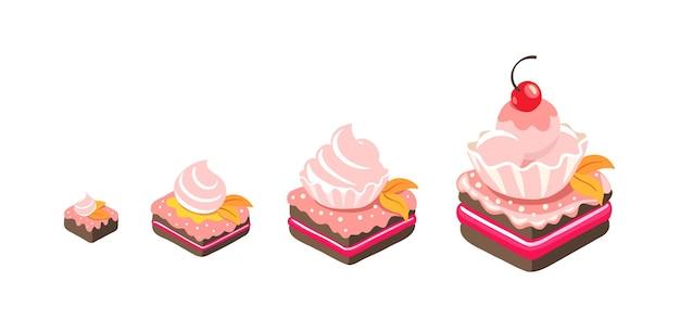 Tailles de gâteaux. récompense de dessert. pâtisserie de différent.