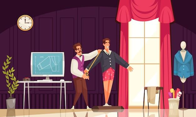 Tailleur masculin prenant des mesures d'un homme souriant pour une veste dans une illustration de dessin animé d'atelier