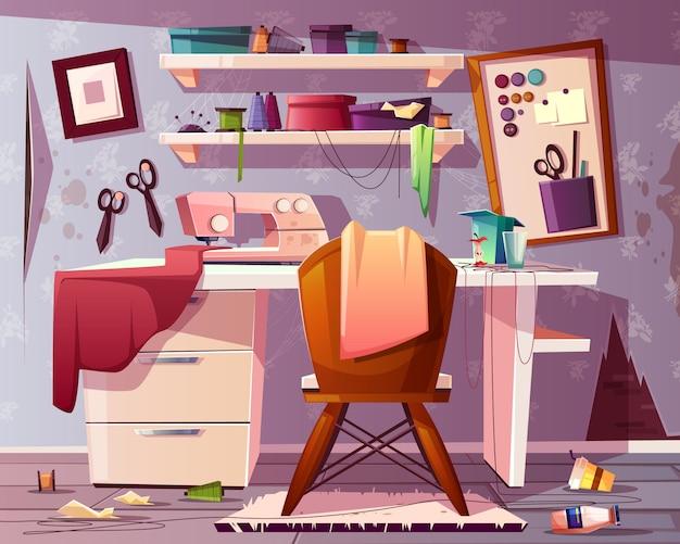 Tailleur sale, artisanat ou lieu de couture avec ordures, ordures.