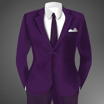Tailleur violet avec cravate et chemise blanche