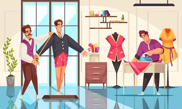Tailleurs prenant des mesures et repassant des vêtements au studio
