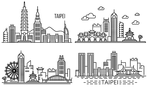 Taipei illustration set, style de contour