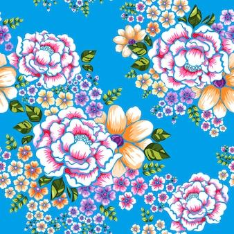 Taïwan hakka culture transparente motif floral sur bleu