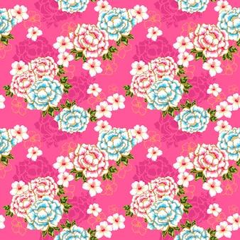 Taïwan hakka culture transparente motif floral sur rose