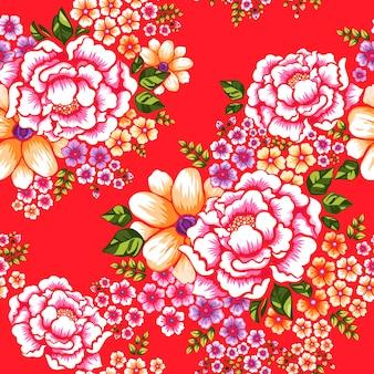 Taïwan hakka culture transparente motif floral sur rouge