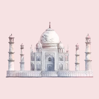 Le taj mahal à agra, inde illustration aquarelle