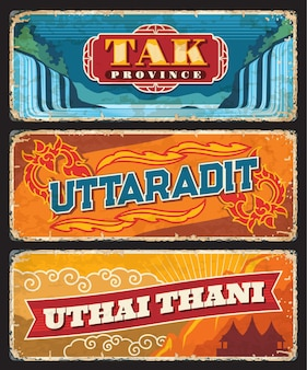Tak, uttaradit, uthai thani, plaques des provinces thaïlandaises