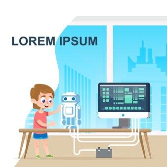 Talent school boy programming programme de robot numérique