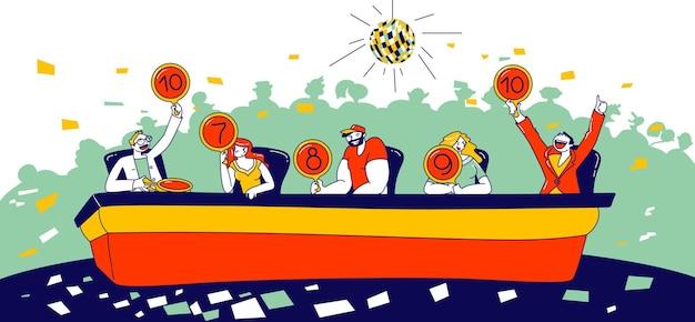 Talent show jury hommes et femmes personnages juges artistes montrant des bannières avec des numéros d'évaluation. performance, concours de télévision vocale, concours d'audition musicale de télévision. illustration vectorielle de personnes linéaires