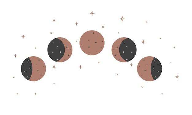 Talisman céleste magique ésotérique ésotérique alchimie avec phases de lune. objet d'occultisme spirituel. illustration vectorielle.