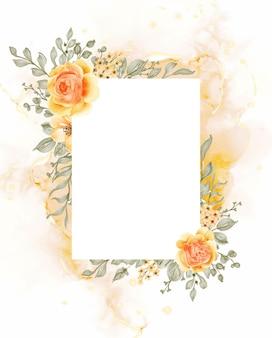 Talitha rose jaune fleur orange fond cadre avec rectangle d'espace blanc