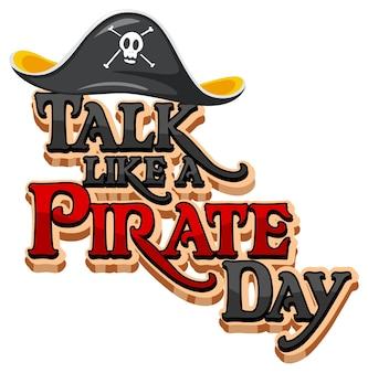 Talk like a pirate day logo avec un chapeau de pirate sur fond blanc