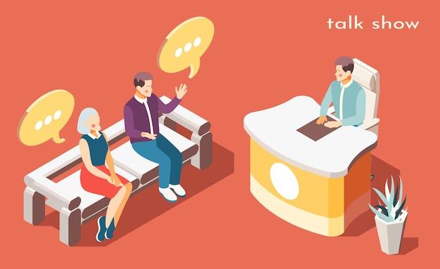 Talk-show avec illustration isométrique des symboles de discussion de problème