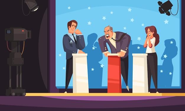 Talk-show politique coloré avec des opposants debout derrière des tribunes devant les caméras de télévision