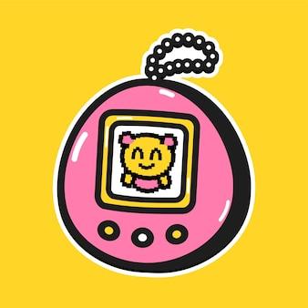 Tamagotchi de bébé animal drôle mignon. conception d'illustration de personnage de dessin animé de griffonnage de vecteur. concept d'icône de logo de personnage de dessin animé drôle tamagotchi
