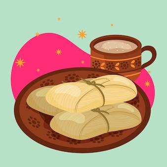 Tamales plats bio illustrés