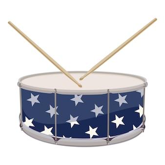 Tambour peint dans les symboles patriotiques des usa
