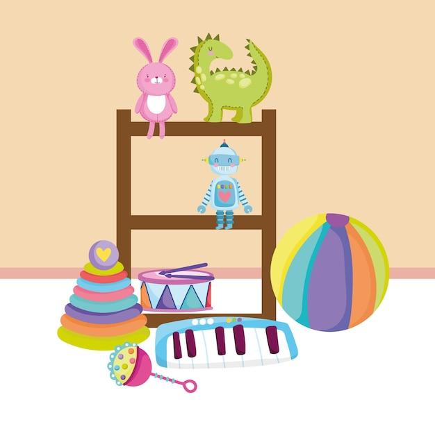 Tambour de robot d'étagère de jouets pour enfants