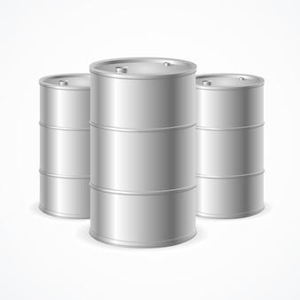 Tambours de baril de pétrole réalistes vierges. illustration vectorielle