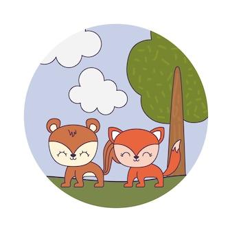 Tamia mignon avec le renard dans le paysage