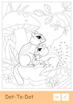 Tamias dottodot contour incolore assis sous le champignon dans un bois isolé sur fond blanc animaux sauvages enfants d'âge préscolaire illustrations de livres de coloriage et activité de développement