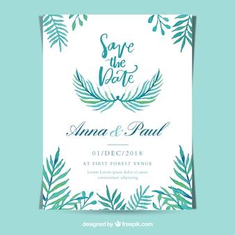 Tamplate d'invitation de mariage floral aquarelle