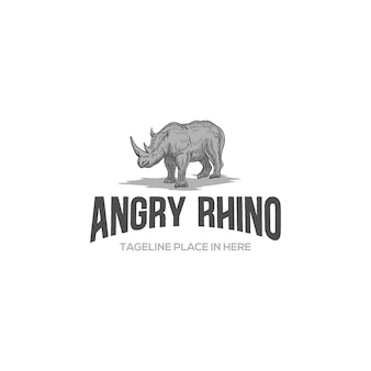 Tamplate logo vintage rhino en colère avec gravure rétro classique dessin animal réaliste