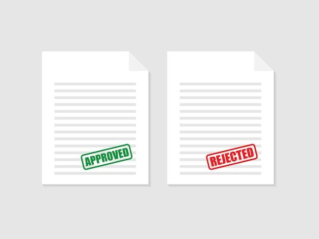 Tampon approuvé et rejeté sur le document, de couleur verte et rouge. illustration vectorielle