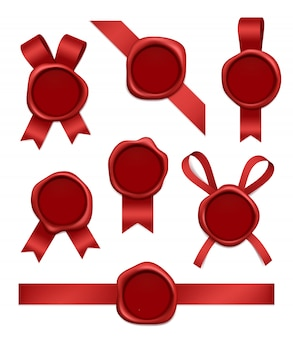 Tampon de cire et rubans. timbres postaux en caoutchouc rouge scellés avec des images 3d réalistes de bandes
