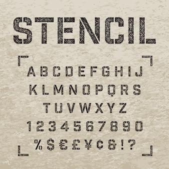 Tamponnez des lettres, des chiffres et des symboles au pochoir. alphabet grunge.