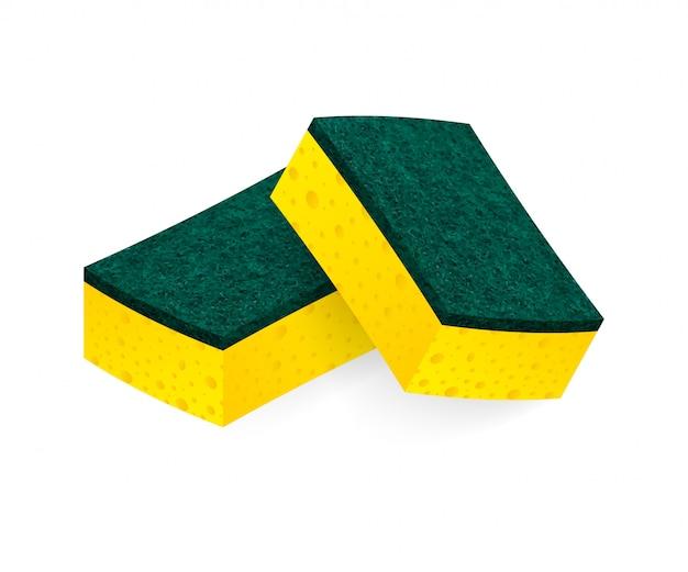 Tampons à récurer éponge pour le nettoyage des tâches ménagères et tampons à récurer outils de travail pour éponge domestique. illustration.