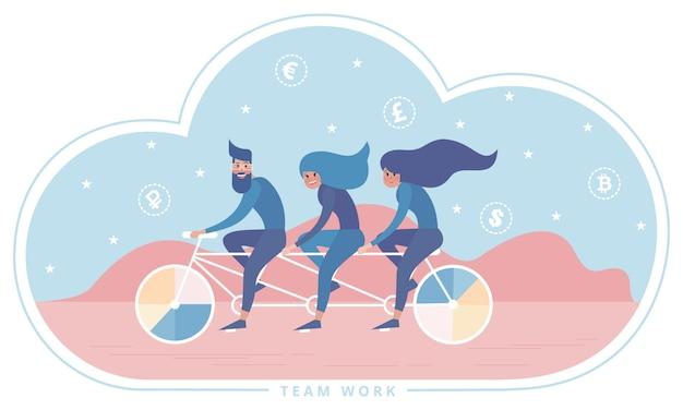 Tandem de triplets de bicyclettes d'équitation comme métaphore du travail d'équipe.