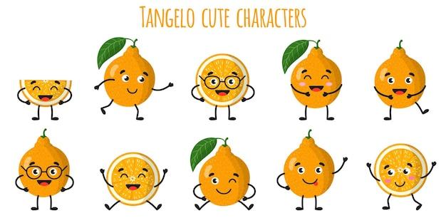 Tangelo agrumes mignons personnages gais drôles avec différentes poses et émotions. collection de nourriture de désintoxication antioxydante de vitamine naturelle. illustration isolée de dessin animé.