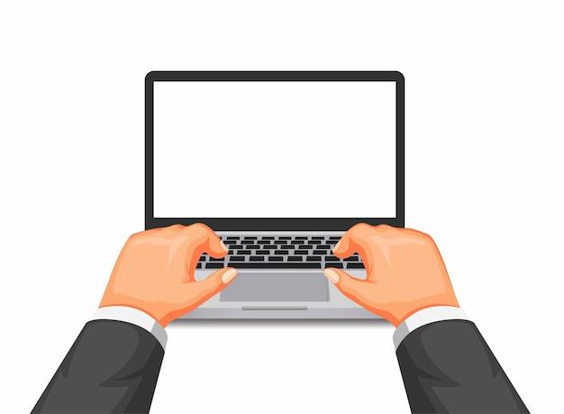 Taper à la main sur un ordinateur portable, travailler ou étudier à l'aide d'un ordinateur en dessin animé