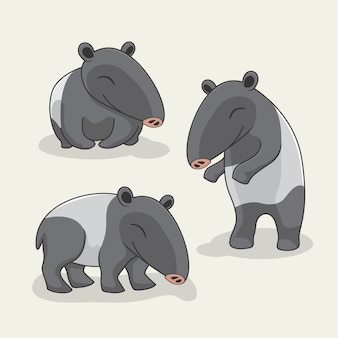 Tapir cartoon cute animals