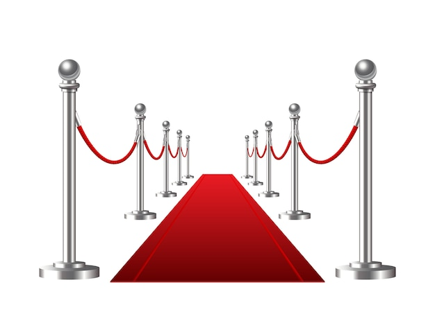 Tapis d'événement rouge sur fond blanc. illustration