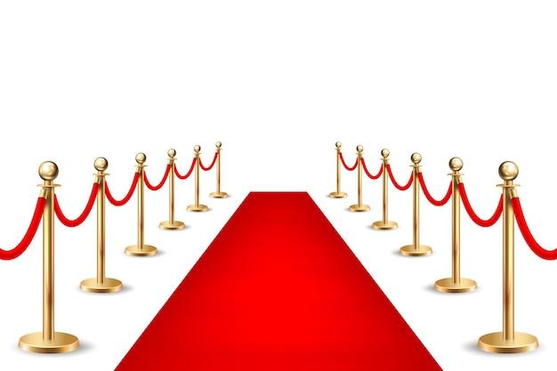 Tapis d'événement rouge vecteur réaliste et barrières argentées isolés sur fond blanc. modèle de conception, clipart, illustration eps10.