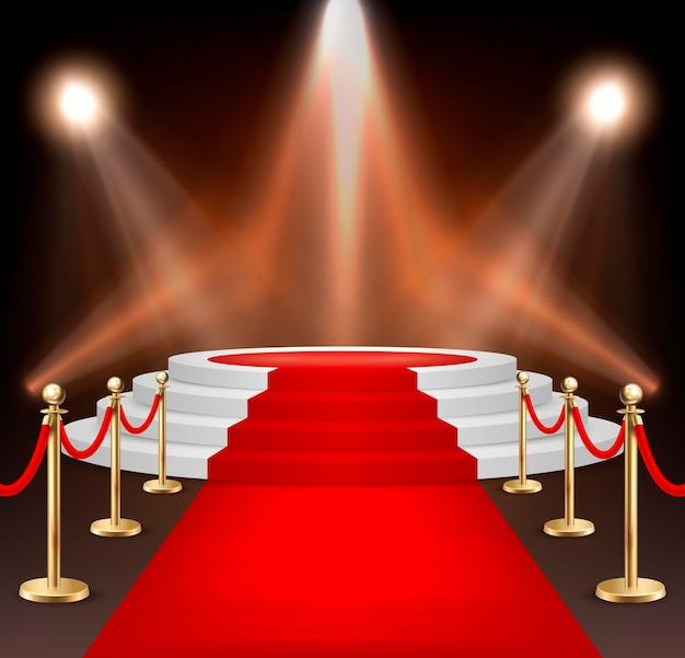 Tapis d'événement rouge vectoriel réaliste, barrières dorées et escaliers blancs isolés sur fond blanc. modèle de conception, clipart. illustration eps10.
