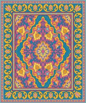 Tapis Oriental Coloré. Motif Bleu Et Rose. Vecteur Premium