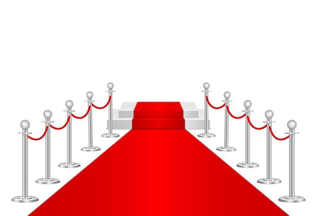Tapis rouge et barrières de chemin 3d. événement vip, célébration de luxe. poteaux de barrière de corde de file d'attente d'or. première cérémonie de spectacle. entrée de luxe à un événement vip ou à une fête de célébrités. illustration vectorielle