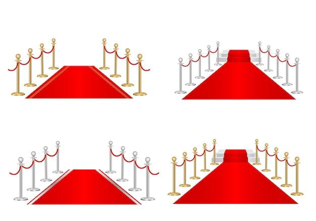 Tapis rouge et barrières de chemin 3d