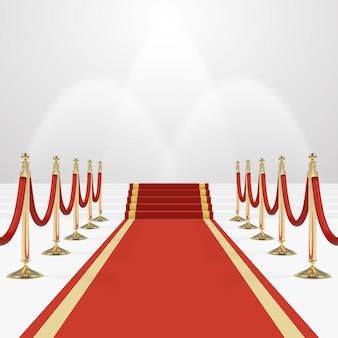 Tapis Rouge Dans Les Escaliers Pour Vider Le Podium Illuminé En Blanc Vecteur Premium