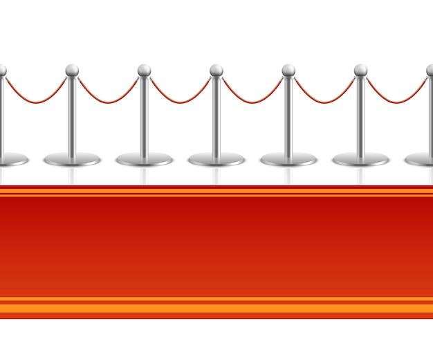 Tapis rouge avec fond transparent de corde barrière