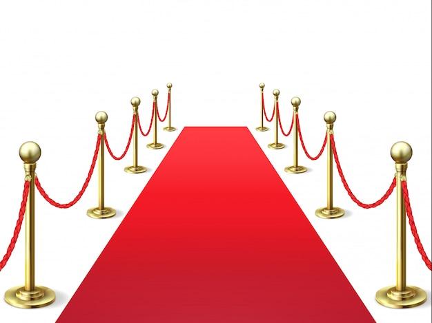 Tapis rouge. tapis de célébrités avec barrière en corde.