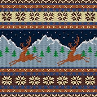 Tapisserie en laine tricotée avec des cerfs sur un fond