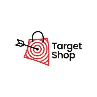 Target shop market shopping bag flèche logo vector icon illustration