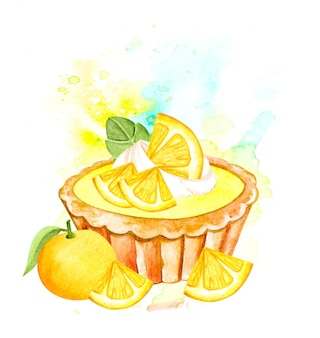 Tarte aux fruits orange aquarelle