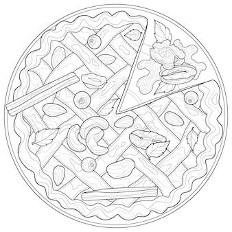 Tarte aux noix et à la cannelle. bonbons.livre de coloriage antistress pour enfants et adultes. illustration isolée sur fond blanc. style zen-tangle.