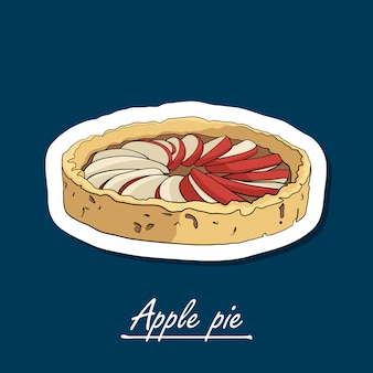 Tarte aux pommes dessinée à la main. illustration colorée du dessert.